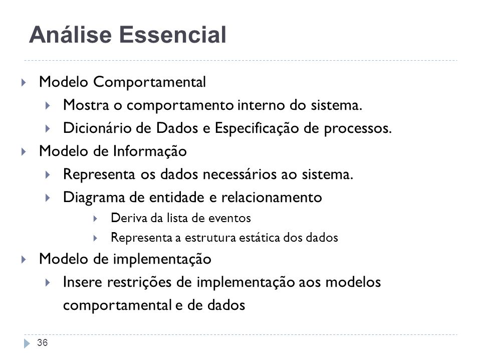 Modelo Comportamental Mostra o comportamento interno do sistema. Dicionário de Dados e Especificação de processos. Modelo de Informação Representa os