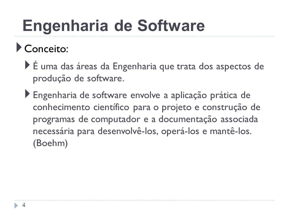 Conceito: É uma das áreas da Engenharia que trata dos aspectos de produção de software. Engenharia de software envolve a aplicação prática de conhecim