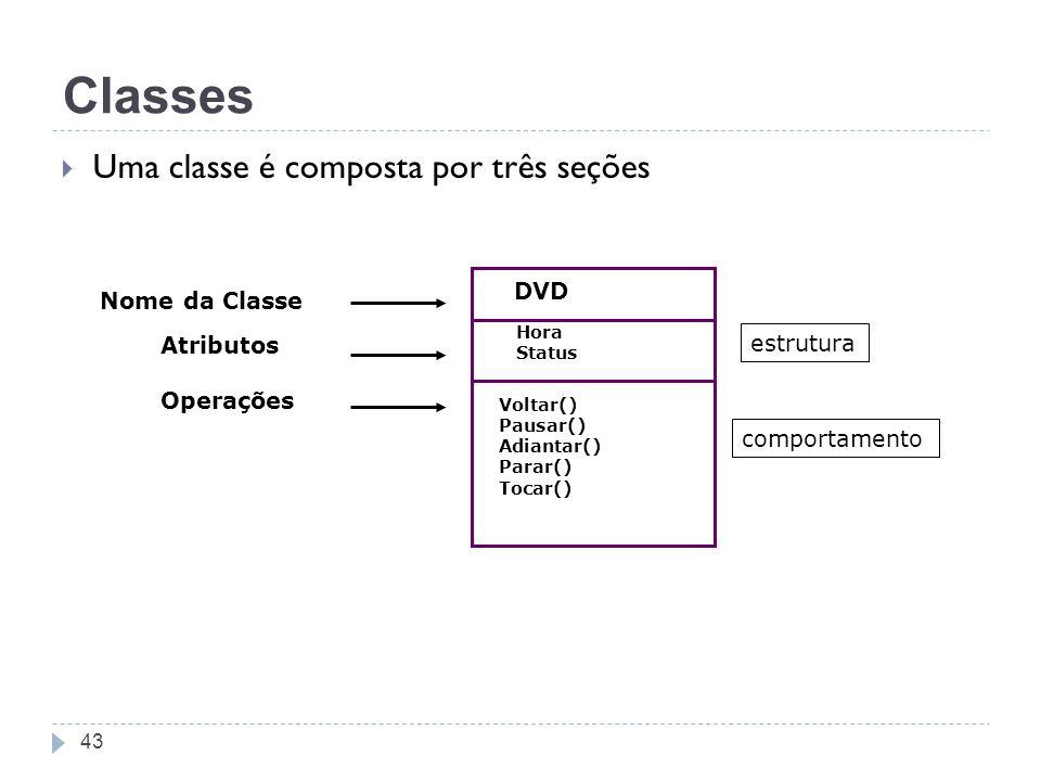 43 Classes Uma classe é composta por três seções Nome da Classe DVD Atributos Operações Hora Status estrutura comportamento Voltar() Pausar() Adiantar