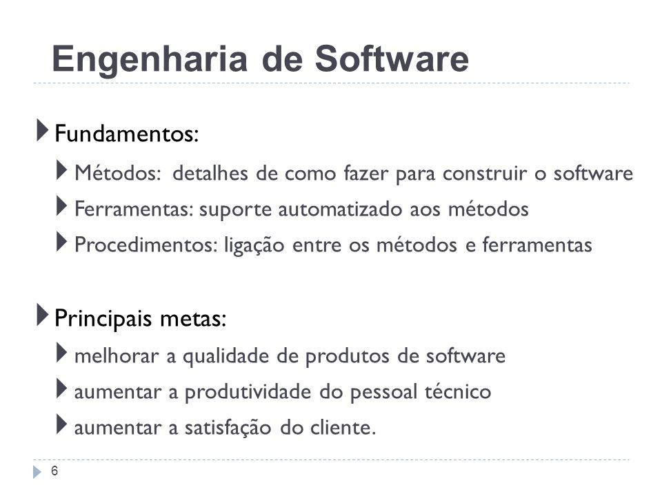 Fundamentos: Métodos: detalhes de como fazer para construir o software Ferramentas: suporte automatizado aos métodos Procedimentos: ligação entre os m