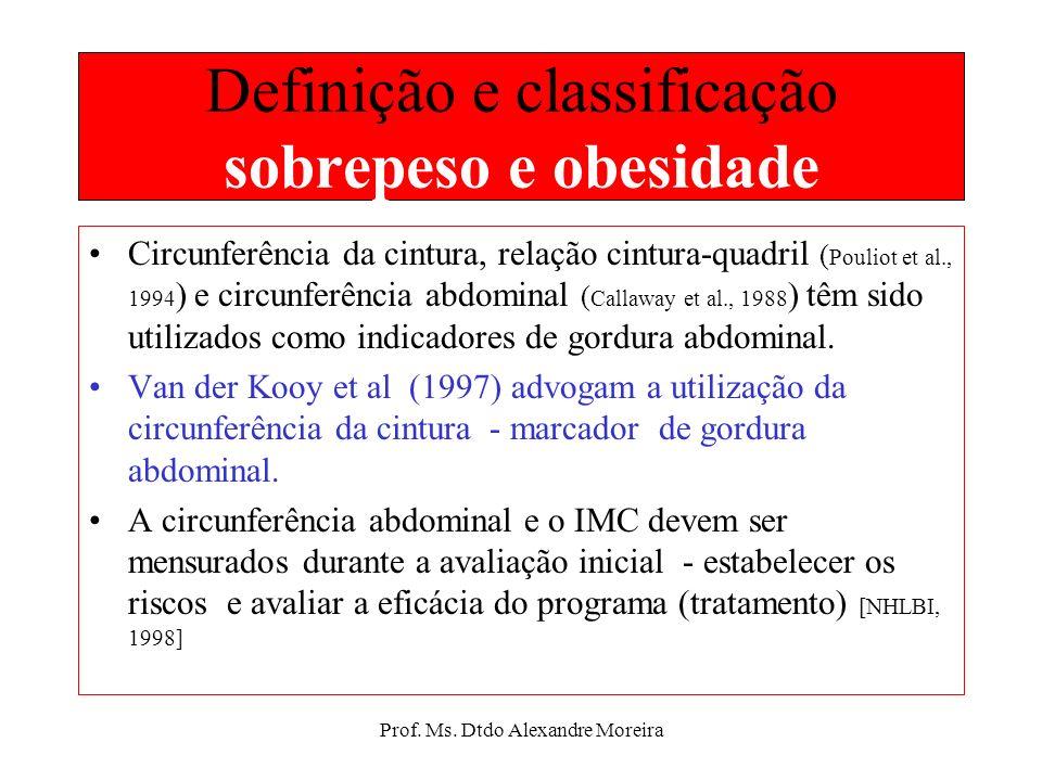 Prof. Ms. Dtdo Alexandre Moreira Definição e classificação sobrepeso e obesidade Obesidade: clinicamente, é definida como um acúmulo excessivo de gord