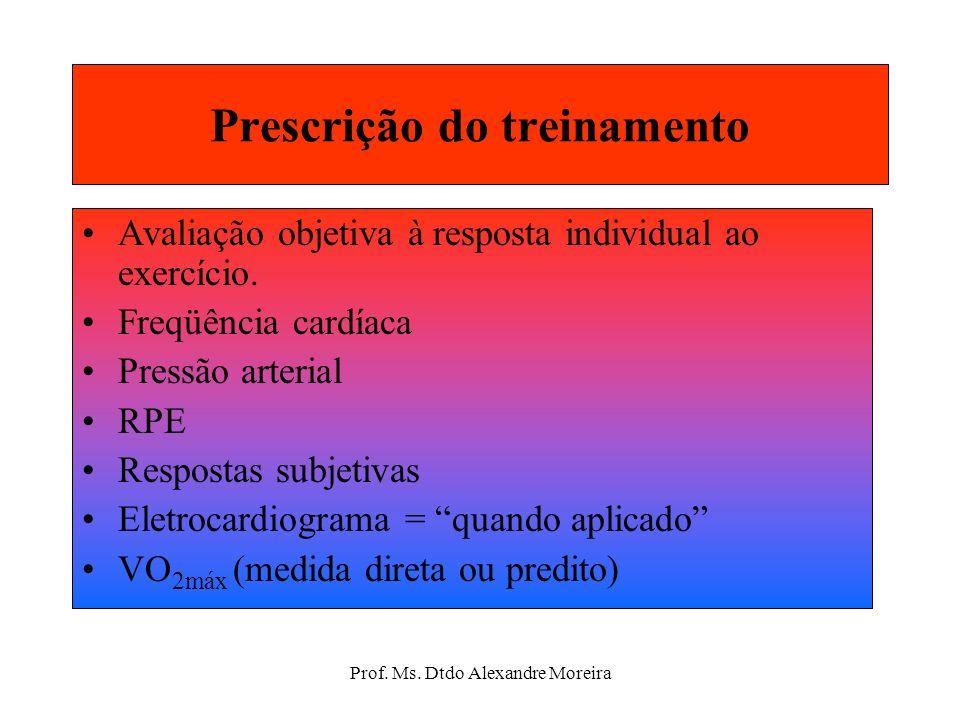 Prof. Ms. Dtdo Alexandre Moreira Recomendação para a progressão Alcançar progressivamente 200-300 min de exercício por semana. Utilização variada de e