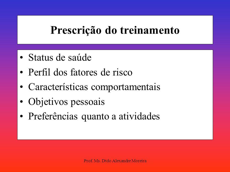 Prof. Ms. Dtdo Alexandre Moreira Prescrição do treinamento Avaliação objetiva à resposta individual ao exercício. Freqüência cardíaca Pressão arterial
