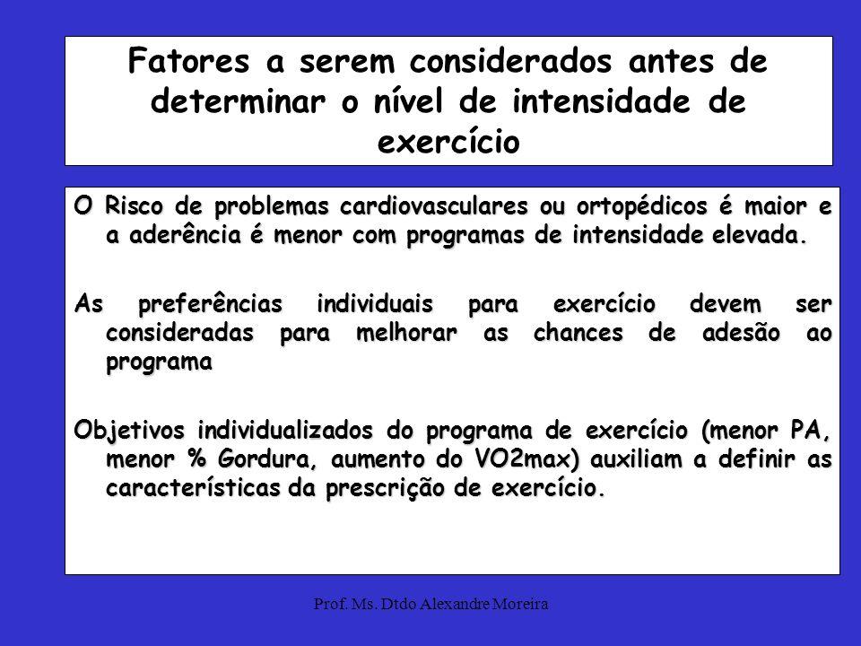Prof. Ms. Dtdo Alexandre Moreira Nível de aptidão física: baixa aptidão, muito sedentário, e populações clínicas podem melhorar sua aptidão com exercí