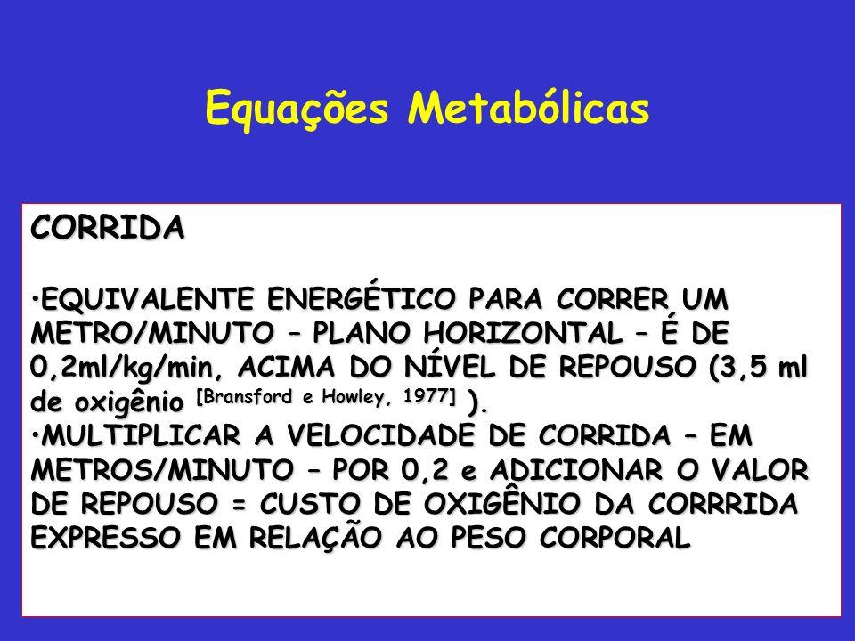 Prof. Ms. Dtdo Alexandre Moreira Equações Metabólicas Caminhar VO 2 = 0.1 x V (m/min) +1.8 x V (m/mi) x inclinação (fração) + 3.5 Para velocidades de