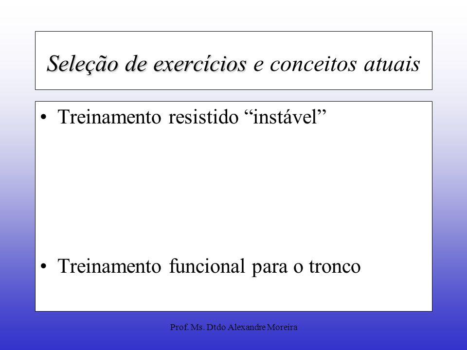Prof. Ms. Dtdo Alexandre Moreira Seleção de exercícios Exercícios uniarticulares (UA) x multiarticulares (MA). MA: envolver uma maior ativação neural