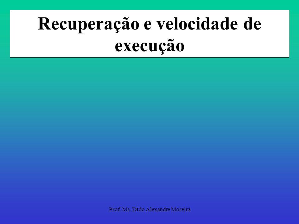 Prof. Ms. Dtdo Alexandre Moreira Recuperação e velocidade de execução Intervalos que propiciem recuperação completa. Períodos de recuperação variando