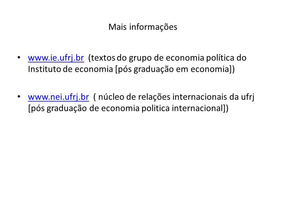 Mais informações www.ie.ufrj.br (textos do grupo de economia política do Instituto de economia [pós graduação em economia]) www.ie.ufrj.br www.nei.ufr