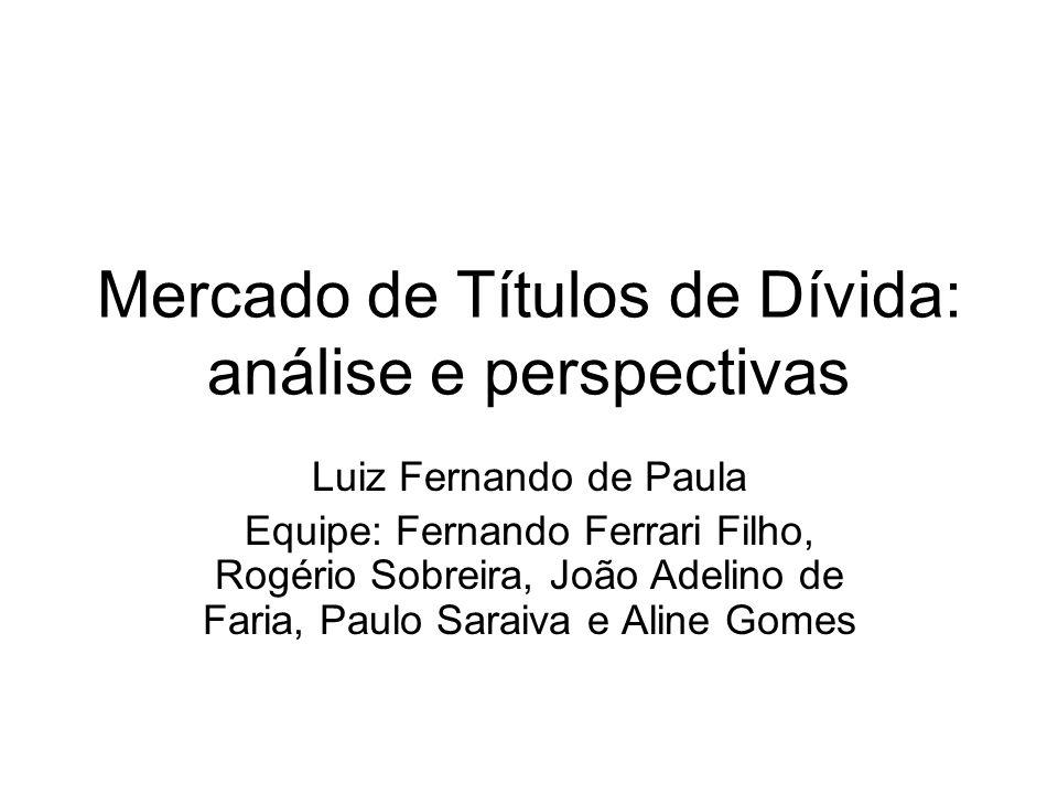 Mercado de Títulos de Dívida: análise e perspectivas Luiz Fernando de Paula Equipe: Fernando Ferrari Filho, Rogério Sobreira, João Adelino de Faria, P
