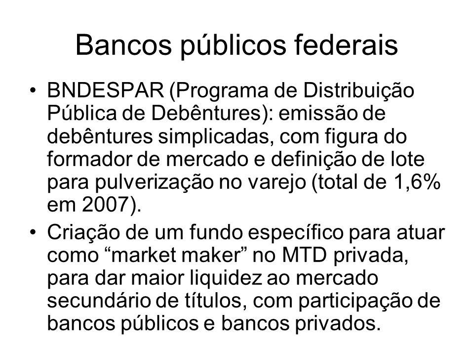 Bancos públicos federais BNDESPAR (Programa de Distribuição Pública de Debêntures): emissão de debêntures simplicadas, com figura do formador de merca