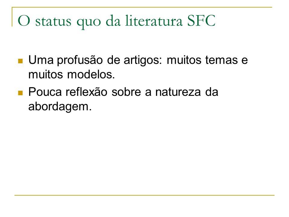 O status quo da literatura SFC Uma profusão de artigos: muitos temas e muitos modelos.