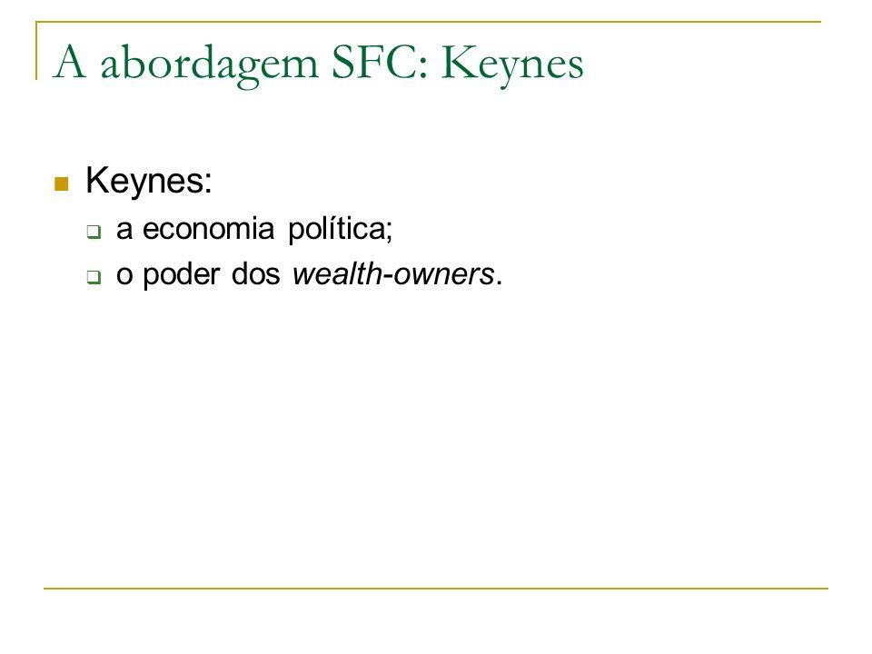 A abordagem SFC: Keynes Keynes: a economia política; o poder dos wealth-owners.