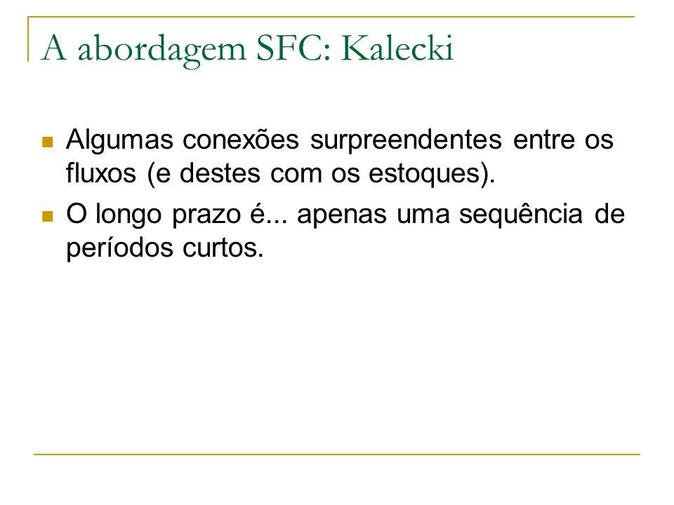 A abordagem SFC: Kalecki Algumas conexões surpreendentes entre os fluxos (e destes com os estoques).