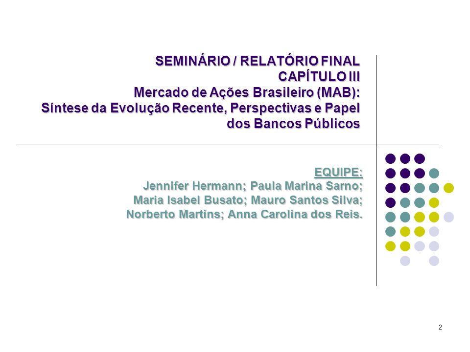2 SEMINÁRIO / RELATÓRIO FINAL CAPÍTULO III Mercado de Ações Brasileiro (MAB): Síntese da Evolução Recente, Perspectivas e Papel dos Bancos Públicos EQ