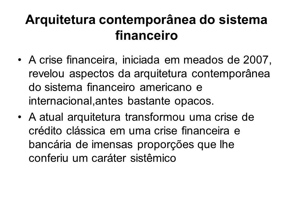 Arquitetura contemporânea do sistema financeiro A crise financeira, iniciada em meados de 2007, revelou aspectos da arquitetura contemporânea do sistema financeiro americano e internacional,antes bastante opacos.