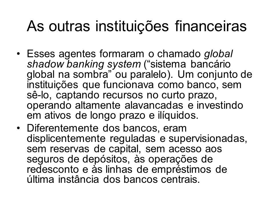 As outras instituições financeiras Esses agentes formaram o chamado global shadow banking system (sistema bancário global na sombra ou paralelo).