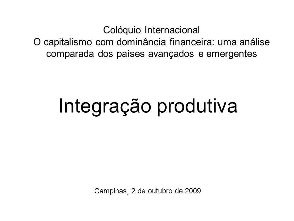 Colóquio Internacional O capitalismo com dominância financeira: uma análise comparada dos países avançados e emergentes Integração produtiva Campinas,