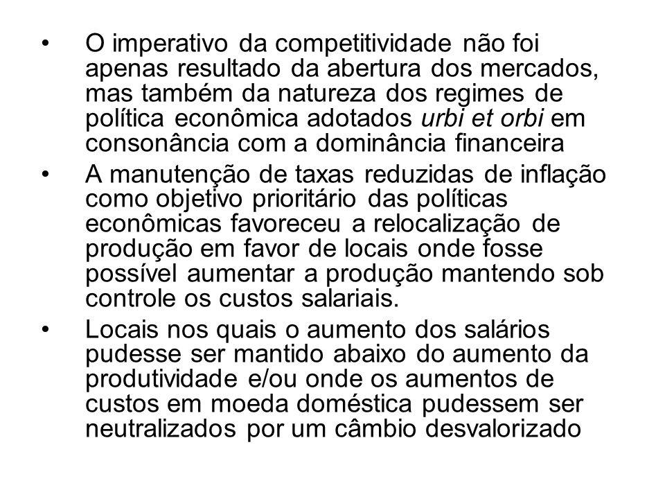 O imperativo da competitividade não foi apenas resultado da abertura dos mercados, mas também da natureza dos regimes de política econômica adotados u