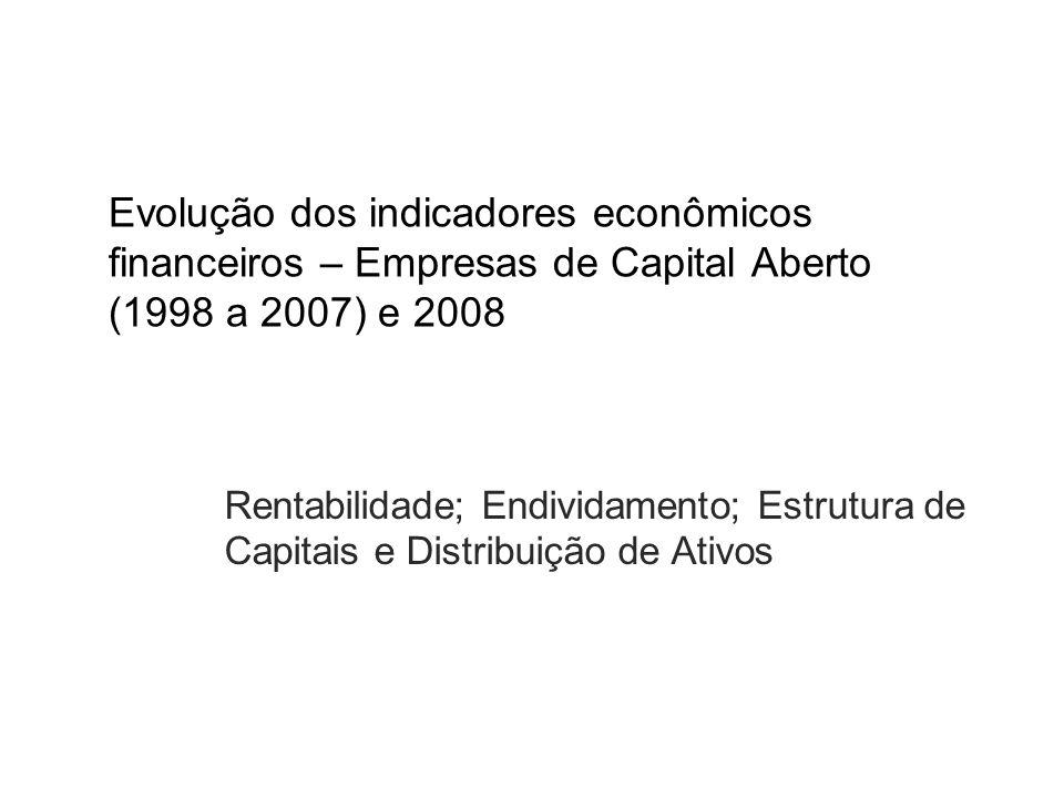 Evolução dos indicadores econômicos financeiros – Empresas de Capital Aberto (1998 a 2007) e 2008 Rentabilidade; Endividamento; Estrutura de Capitais