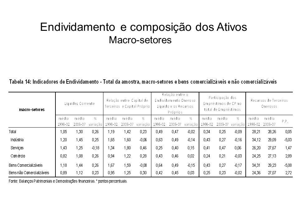 Endividamento e composição dos Ativos Macro-setores