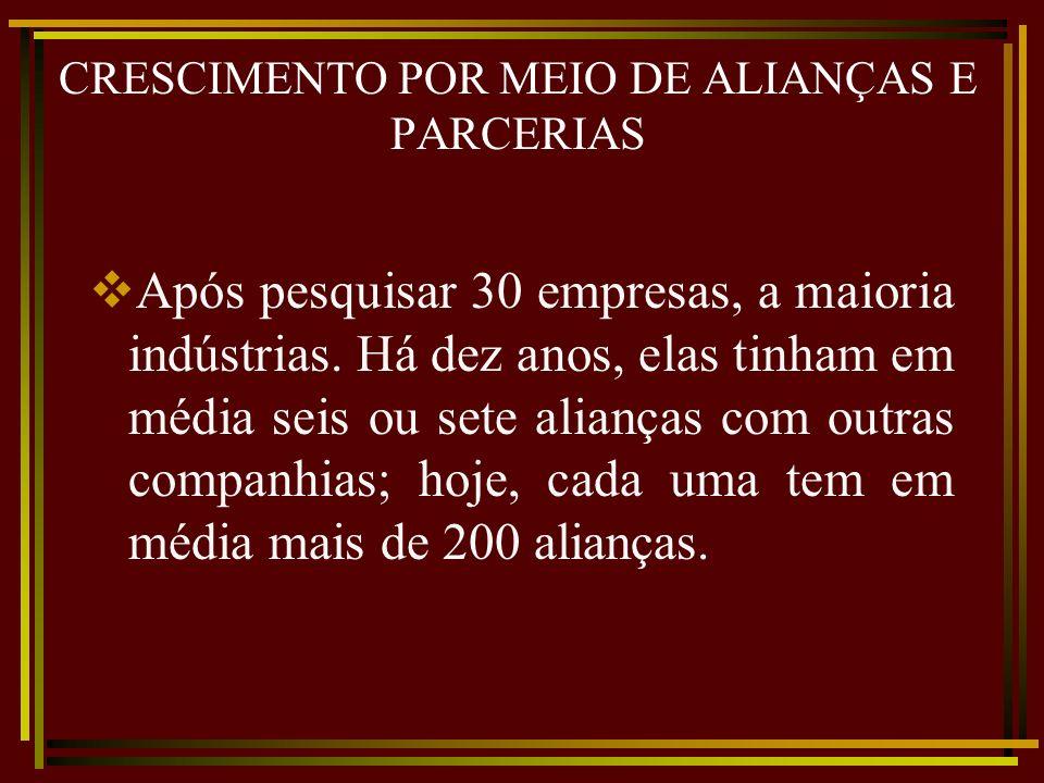 CRESCIMENTO POR MEIO DE ALIANÇAS E PARCERIAS Após pesquisar 30 empresas, a maioria indústrias. Há dez anos, elas tinham em média seis ou sete alianças