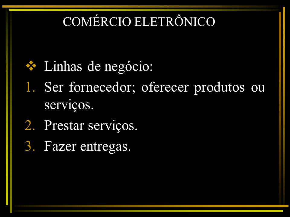 COMÉRCIO ELETRÔNICO Linhas de negócio: 1.Ser fornecedor; oferecer produtos ou serviços. 2.Prestar serviços. 3.Fazer entregas.