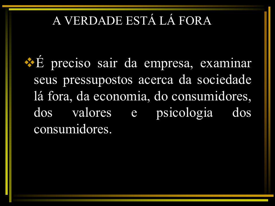 A VERDADE ESTÁ LÁ FORA É preciso sair da empresa, examinar seus pressupostos acerca da sociedade lá fora, da economia, do consumidores, dos valores e