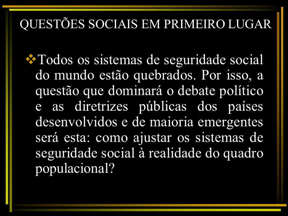 QUESTÕES SOCIAIS EM PRIMEIRO LUGAR Todos os sistemas de seguridade social do mundo estão quebrados. Por isso, a questão que dominará o debate político