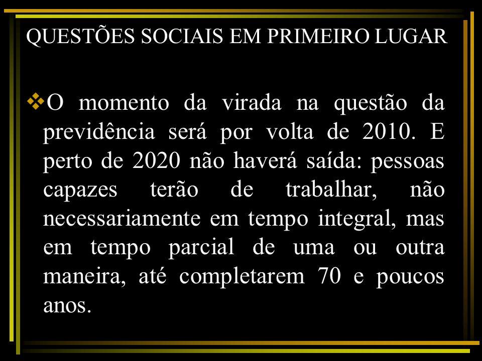 QUESTÕES SOCIAIS EM PRIMEIRO LUGAR O momento da virada na questão da previdência será por volta de 2010. E perto de 2020 não haverá saída: pessoas cap