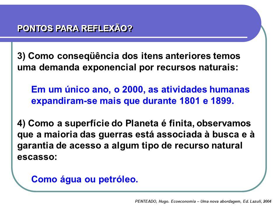 PONTOS PARA REFLEXÃO? PENTEADO, Hugo. Ecoeconomia – Uma nova abordagem, Ed. Lazuli, 2004 3) Como conseqüência dos itens anteriores temos uma demanda e