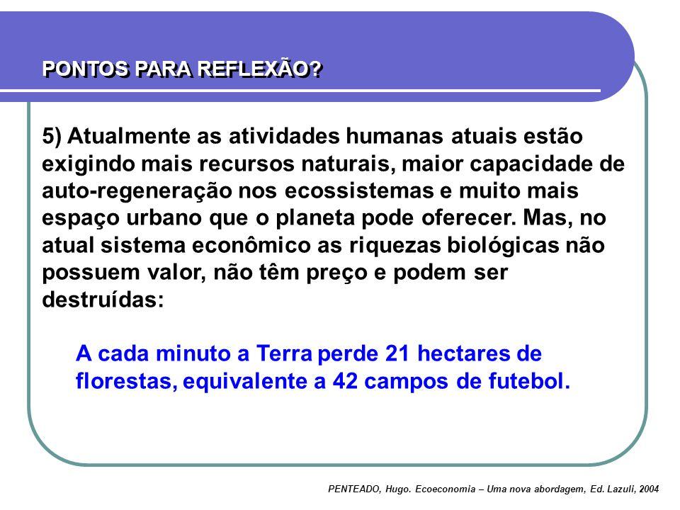 PENTEADO, Hugo. Ecoeconomia – Uma nova abordagem, Ed. Lazuli, 2004 5) Atualmente as atividades humanas atuais estão exigindo mais recursos naturais, m