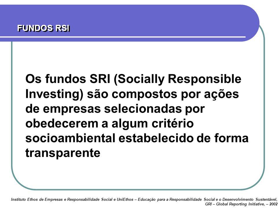 Os fundos SRI (Socially Responsible Investing) são compostos por ações de empresas selecionadas por obedecerem a algum critério socioambiental estabelecido de forma transparente FUNDOS RSI Instituto Ethos de Empresas e Responsabilidade Social e UniEthos – Educação para a Responsabilidade Social e o Desenvolvimento Sustentável, GRI – Global Reporting Initiative, – 2002