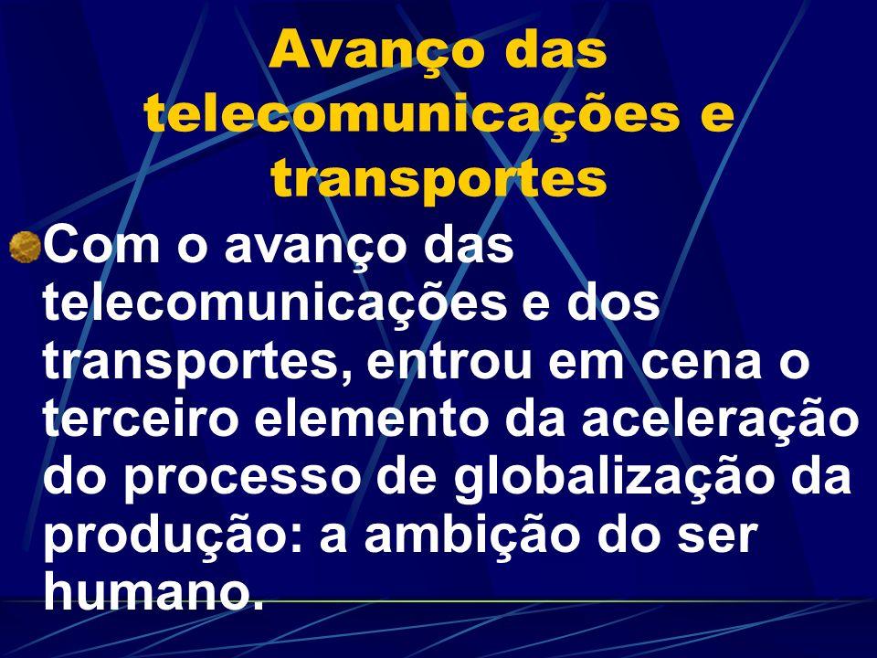 Avanço das telecomunicações e transportes Com o avanço das telecomunicações e dos transportes, entrou em cena o terceiro elemento da aceleração do pro