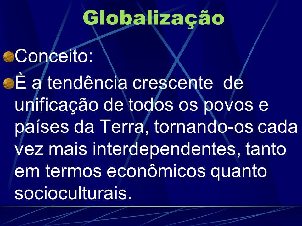 Globalização Conceito: È a tendência crescente de unificação de todos os povos e países da Terra, tornando-os cada vez mais interdependentes, tanto em