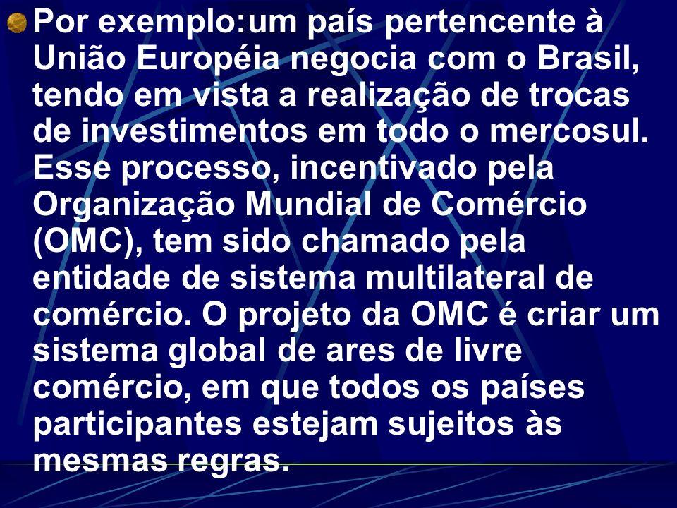 Por exemplo:um país pertencente à União Européia negocia com o Brasil, tendo em vista a realização de trocas de investimentos em todo o mercosul. Esse