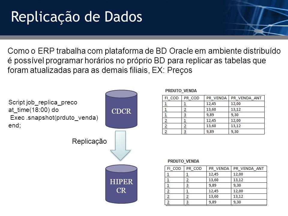 Replicação de Dados Como o ERP trabalha com plataforma de BD Oracle em ambiente distribuído é possível programar horários no próprio BD para replicar