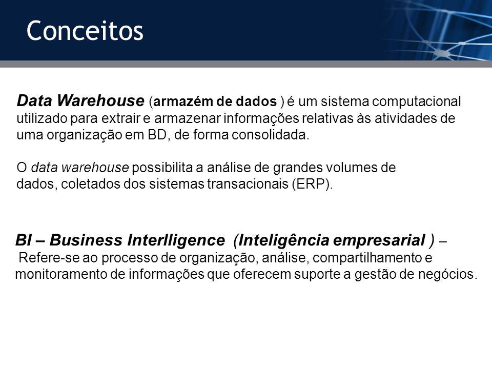 Conceitos Data Warehouse (armazém de dados ) é um sistema computacional utilizado para extrair e armazenar informações relativas às atividades de uma