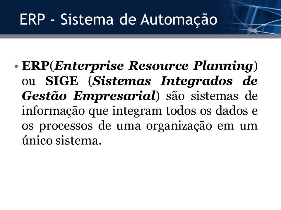 ERP - Sistema de Automação ERP(Enterprise Resource Planning) ou SIGE (Sistemas Integrados de Gestão Empresarial) são sistemas de informação que integr