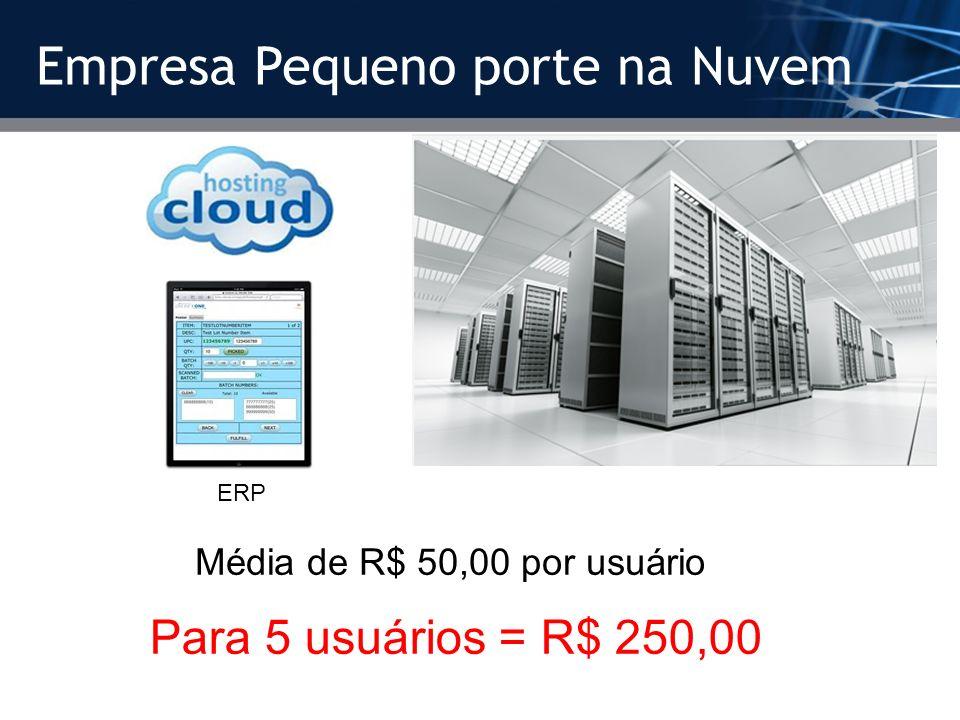 Empresa Pequeno porte na Nuvem Média de R$ 50,00 por usuário Para 5 usuários = R$ 250,00 ERP