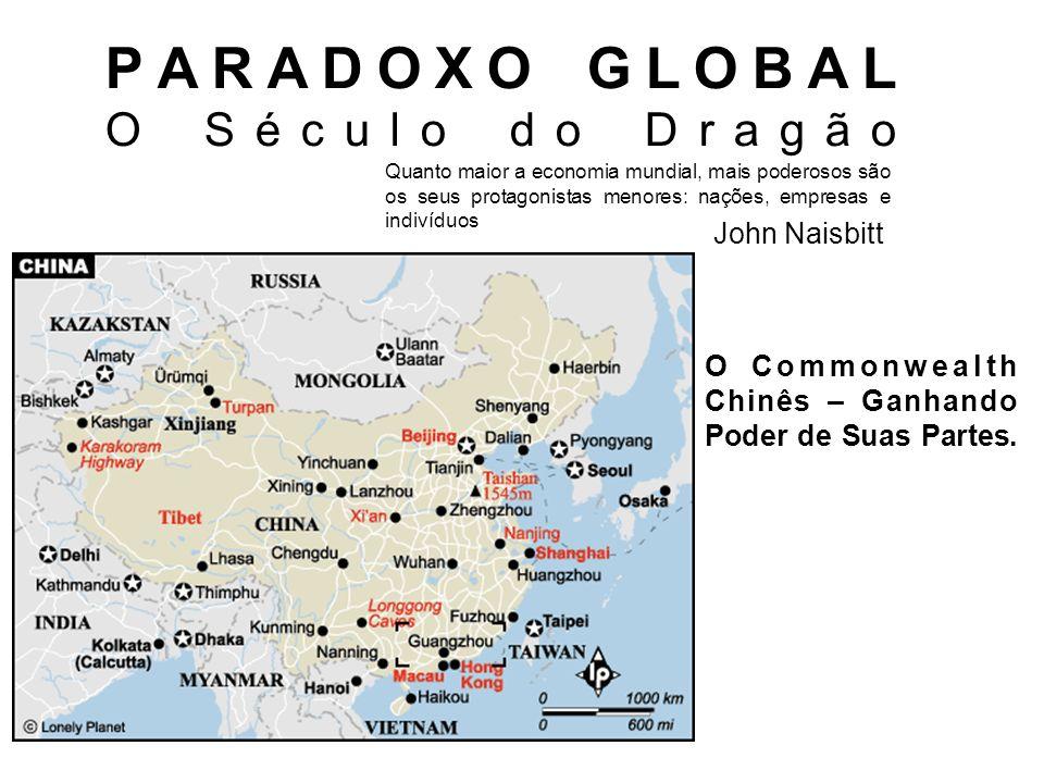 PARADOXO GLOBAL O Século do Dragão John Naisbitt Quanto maior a economia mundial, mais poderosos são os seus protagonistas menores: nações, empresas e indivíduos O Commonwealth Chinês – Ganhando Poder de Suas Partes.