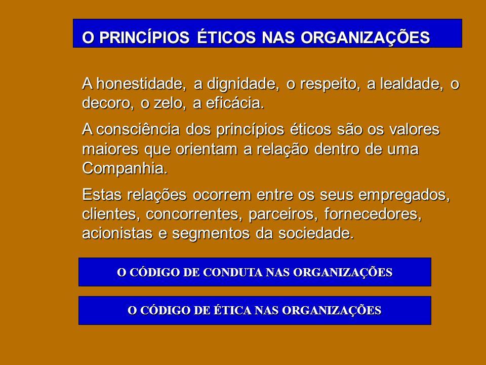 O PRINCÍPIOS ÉTICOS NAS ORGANIZAÇÕES A honestidade, a dignidade, o respeito, a lealdade, o decoro, o zelo, a eficácia. A consciência dos princípios ét