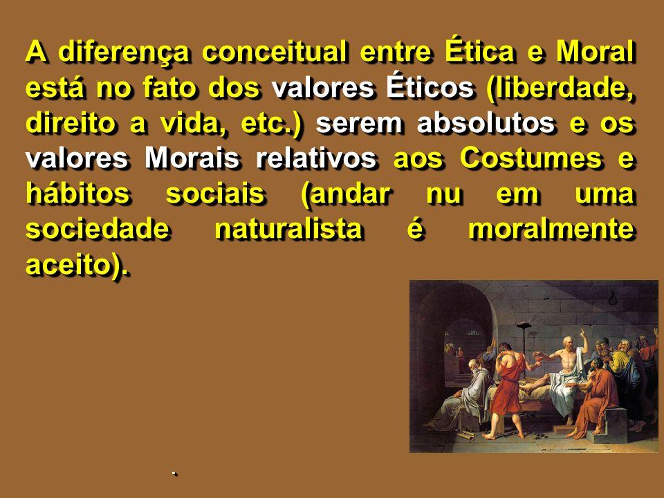 A diferença conceitual entre Ética e Moral está no fato dos valores Éticos (liberdade, direito a vida, etc.) serem absolutos e os valores Morais relat