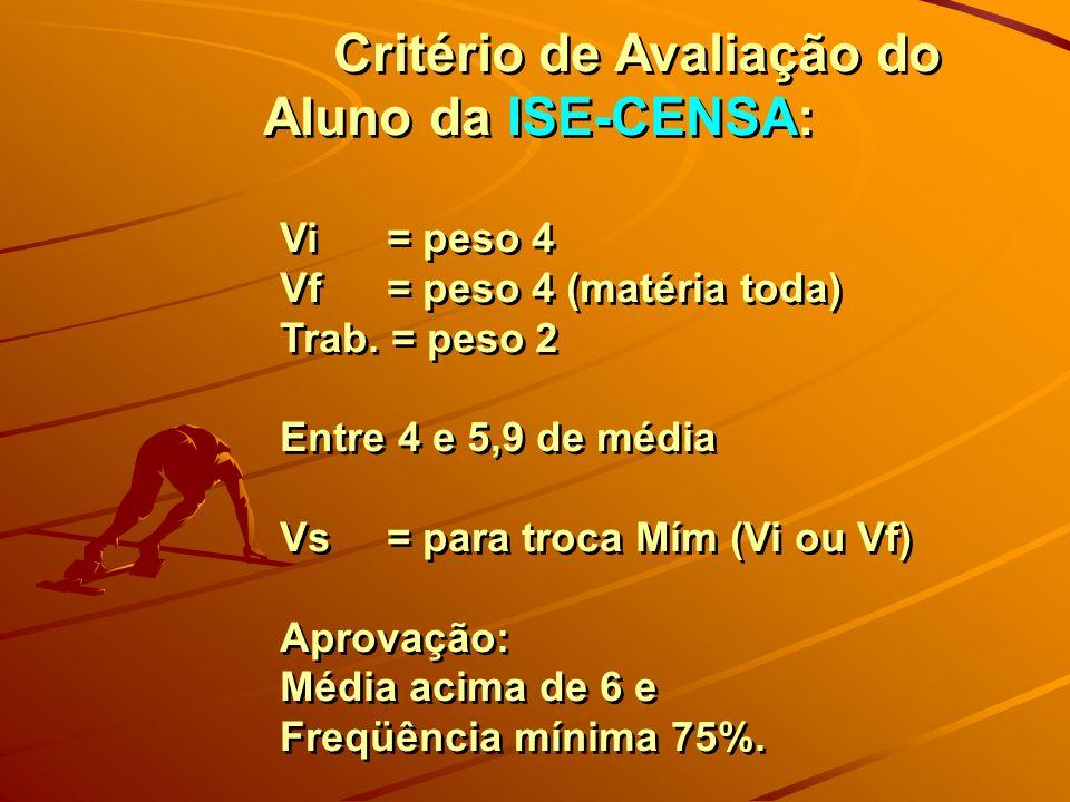 Critério de Avaliação do Aluno da ISE-CENSA: Vi = peso 4 Vf = peso 4 (matéria toda) Trab. = peso 2 Entre 4 e 5,9 de média Vs = para troca Mím (Vi ou V