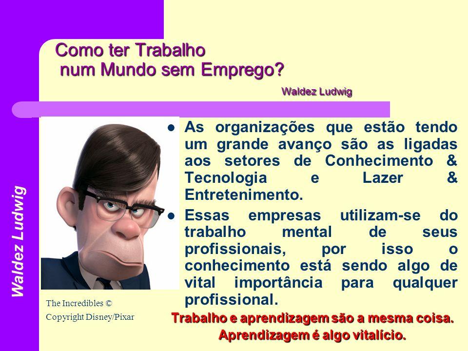 Como ter Trabalho num Mundo sem Emprego? Waldez Ludwig As organizações que estão tendo um grande avanço são as ligadas aos setores de Conhecimento & T