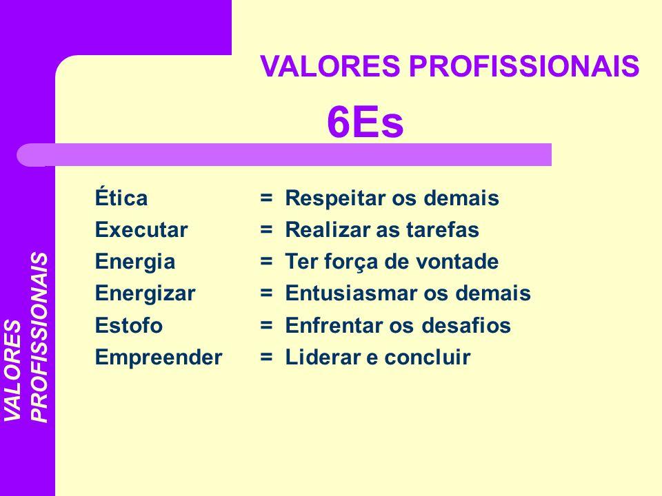 VALORES PROFISSIONAIS 6Es Ética= Respeitar os demais Executar = Realizar as tarefas Energia = Ter força de vontade Energizar= Entusiasmar os demais Es
