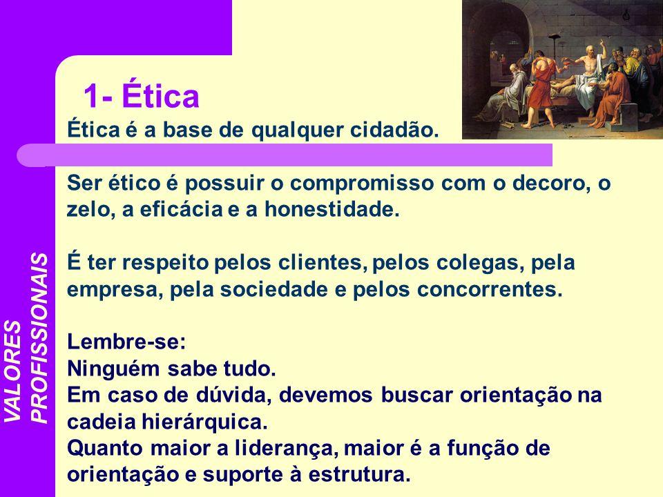 Ética é a base de qualquer cidadão. Ser ético é possuir o compromisso com o decoro, o zelo, a eficácia e a honestidade. É ter respeito pelos clientes,