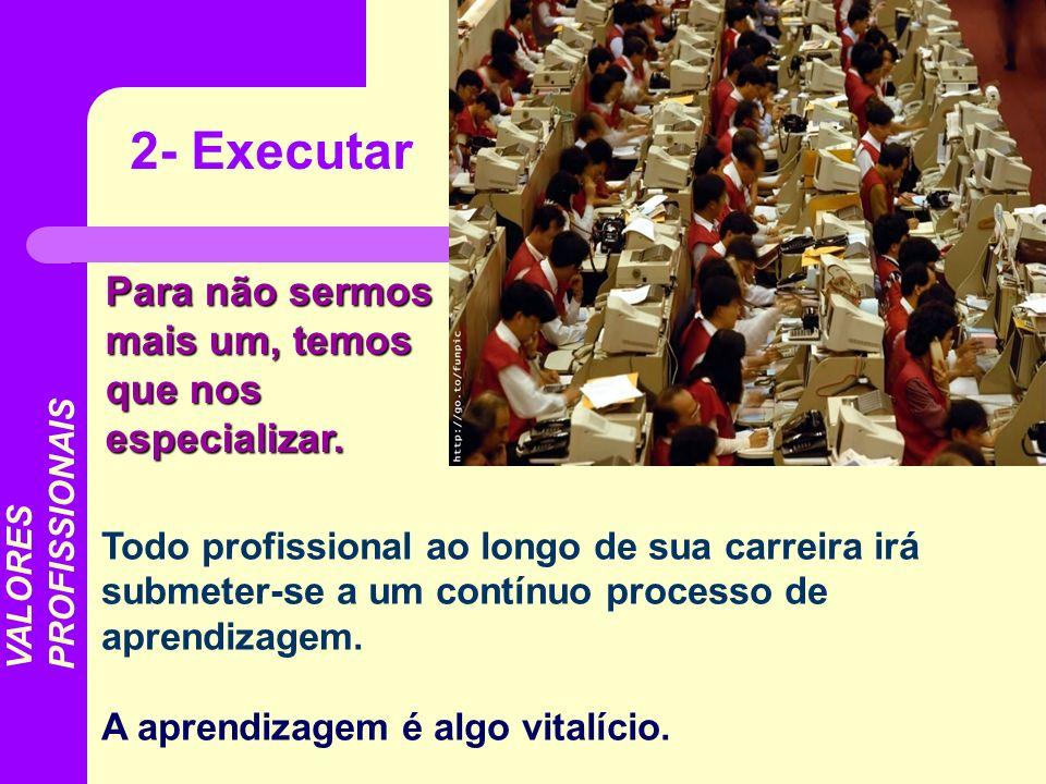 Todo profissional ao longo de sua carreira irá submeter-se a um contínuo processo de aprendizagem. A aprendizagem é algo vitalício. 2- Executar VALORE