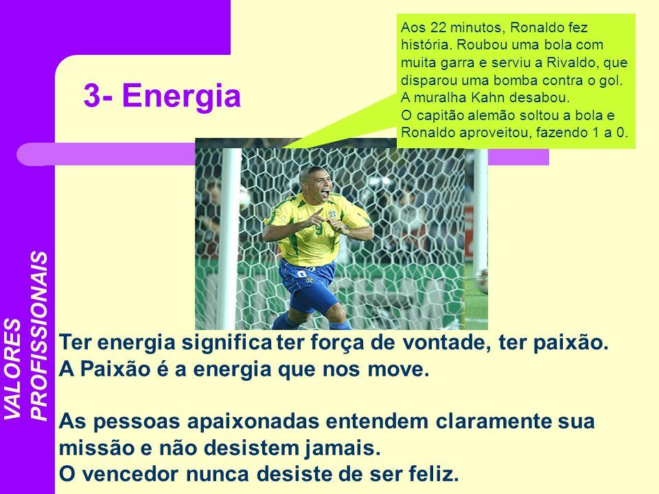 Ter energia significa ter força de vontade, ter paixão. A Paixão é a energia que nos move. As pessoas apaixonadas entendem claramente sua missão e não