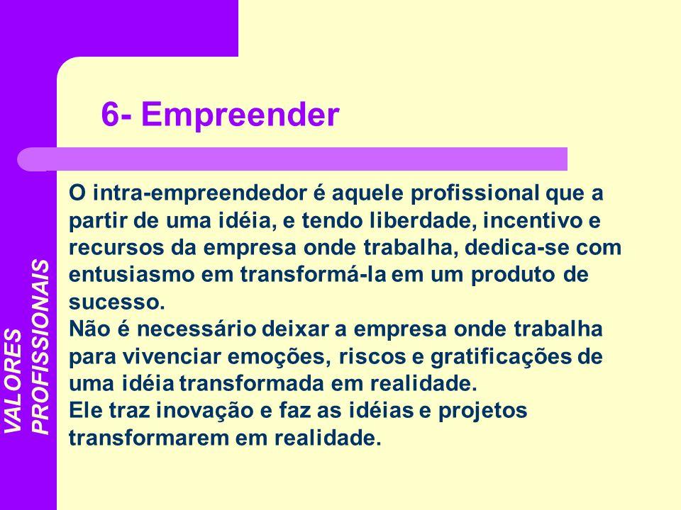 O intra-empreendedor é aquele profissional que a partir de uma idéia, e tendo liberdade, incentivo e recursos da empresa onde trabalha, dedica-se com
