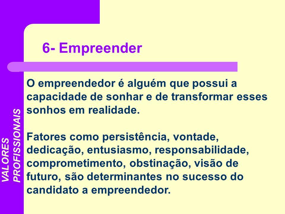 O empreendedor é alguém que possui a capacidade de sonhar e de transformar esses sonhos em realidade. Fatores como persistência, vontade, dedicação, e